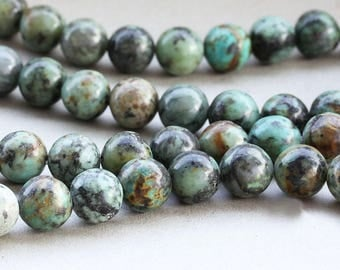 Wholesale African Turquoise 8 & 10 mm. Smooth Round Green Turquoise, Natural Stone and Color, Beads for Handmade Jewelry, High Quality Bead