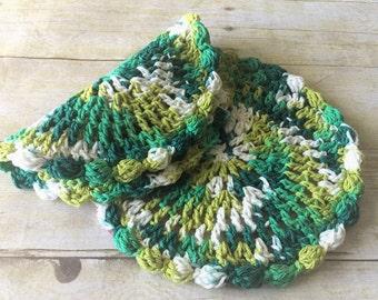 Green Crochet Dishcloths, Round Dishcloth Set, Cotton Washcloth, Crochet Dishcloths, Dishcloth Set, Hostess Gift, Easter Gifts, Gift for Her