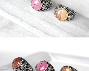 Resin ring for gift|for|women Boho jewelry Signet ring girlfriend Boho ring Party ring Cool gift Pink ring eco Orange ring Red ring petal