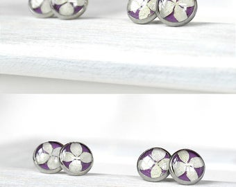 Girlfriend gift idea Purple earrings for her Flowers studs Purple stud earring for womens gift for sisters gift Small studs Little stud