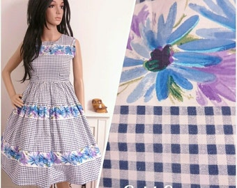 Vintage 1950s Blue Gingham Floral Daisy Full Cotton Dress 50s Petite / UK 8 / EU 36 / US 4
