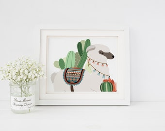 Nursery Girl Decor Nursery Boy Nursery Decor Llama Art Print Llama cactus Alpaca cactus Alpaca Art Print Nursery Art Print Home Decor