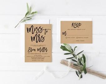 kraft modern miss to mrs wedding bridal shower invitation wedding party invitation hens party party