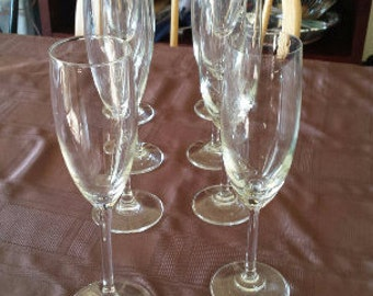 SALE - Vintage Glass Champagne Flutes