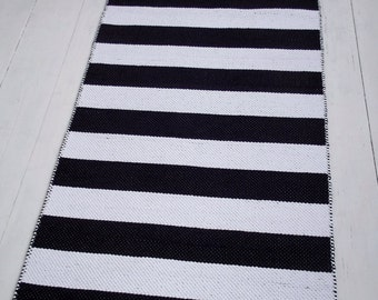 Black and White Striped Rug, Small Cotton Rug, Scandinavian Rug, Handmade, Washable, Woven on the Loom, Made to Order