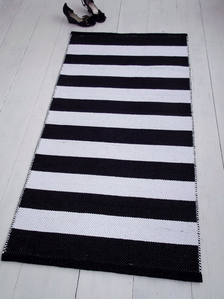 Black And White Striped Rug Small Cotton Rug Scandinavian