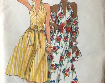 Butterick 4295 - 1970s Halter Style Dress with Flared Skirt in Knee or Maxi Length with Sash and Stole - Size 12 Bust34