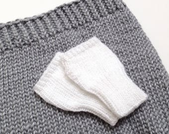 White Fingerless Winter Mittens for Baby   Baby Girl Gifts   0 - 6 months