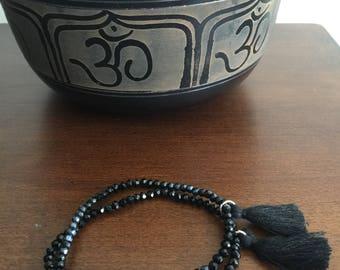 Black silver Set of two iridescent Multicolor Boho crystal bead bracelets stretch bracelet Handmade elastic bracelet strand bracelet tassel