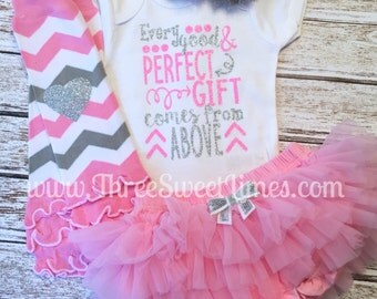 Baby Shower Gift | Every Good And Perfect Gift Comes From Above | Baby Girl Outfit | Opt Leg Warmers Headband Tutu Bloomer Pink Silver P13
