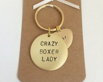 Crazy Boxer Lady Hand stamped Keyring, Personalised with dogs name(s)