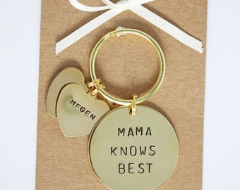 Mama Knows Best Keyring - Hand stamped Personalised Mothers Day Gift