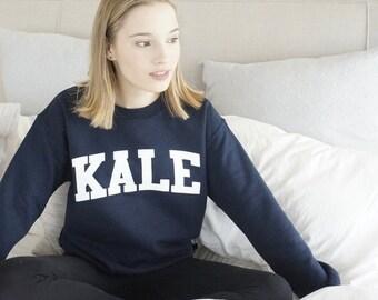 Kale Sweatshirt - Kale Sweater  - Kale University - Tumblr Sweatshirt - Kale Shirt - Funny Sweatshirt - Pullover - Navy Blue Sweatshirt