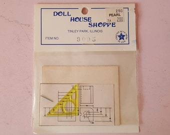Miniature Dollhouse Blueprints Architect Diagram Triangle Ruler Teacher School Set Mathematician 1:12 Scale FS