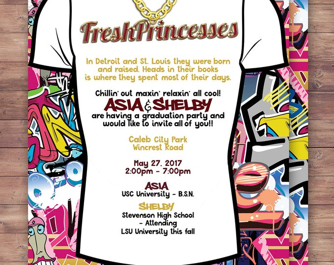 Fresh Prince, graduation party, Birthday, Baby Shower, Hip Hop, Swagger, 90's, backstage pass, Vip invitation, invitation, Graffiti, 90s