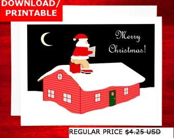 SALE Last Minute Printable Christmas Card - Santa Pooping in Stockings Rude Printable Holiday Card Digital Christmas Printable Funny Xmas
