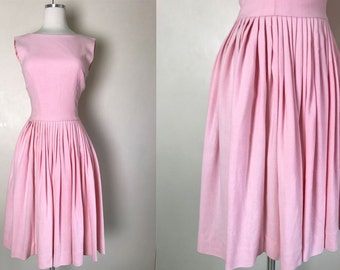 1950s 1960s Pink Shirt Dress with Full Pleated Skirt // 50s 60s Bubblegum Pale Pink Shirtwaist Day Dress