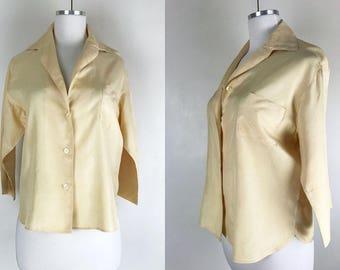 1950s 1960s Pale Butter Yellow Silk Blouse // 50s 60s Button Up Silk Shirt