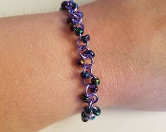 Lavender & Irridescent Beaded Chain Maille Bracelet