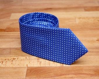 Blue Mens Tie with polka dots TC205 Blue Handmade Cotton Men's necktie Boom Bow