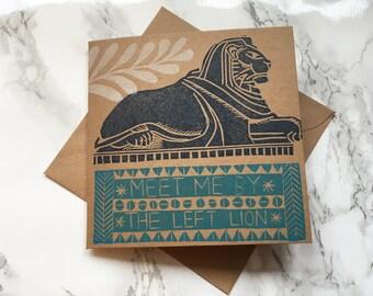 Nottingham Left lion card, regional card, handprinted card, local card, recycled card
