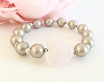 Pink Heart Swarovski Pearl Bridesmaid Bracelet
