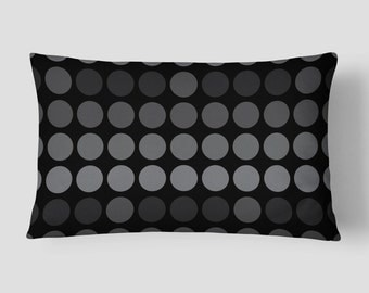 Dots Lumbar Pillow, Black Grey Pillow, Polka Dots Cushion, 14x20 Cushion Cover, Modern Cushion, Cover and Insert, Decorative Pillow