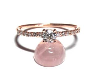 Pave Ring-Gold Ring-Diamond Ring-Rose Gold Ring-925K Silver Zirconia Ring