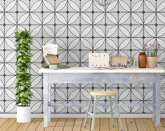 Geometric Art Deco - Modern Accent - Geometry - Wallpaper - Removable Wallpaper - Peel & Stick - Self Adhesive Fabric - SKU: GEAD
