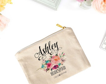 Swirly Bridal Cosmetic Bag-Bridal Party Makeup Bag-Personalized-Bachelorette-Makeup Bag for Bridesmaid-Fun & Inspirational Gifts