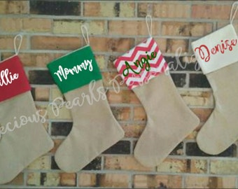 set of 2 christmas stockings 7 colors to choose from burlap christmas stocking - Custom Christmas Stockings