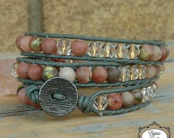 Wrap bracelet, leather bracelet, gypsy jewelry, handwoven bracelet, boho bracelet, lepidolite jewelry, handmade jewelry, Bijoux Koùkla