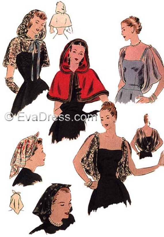 1940s Sewing Patterns – Dresses, Overalls, Lingerie etc 1946 day or Evening Accessories EvaDress Pattern  AT vintagedancer.com