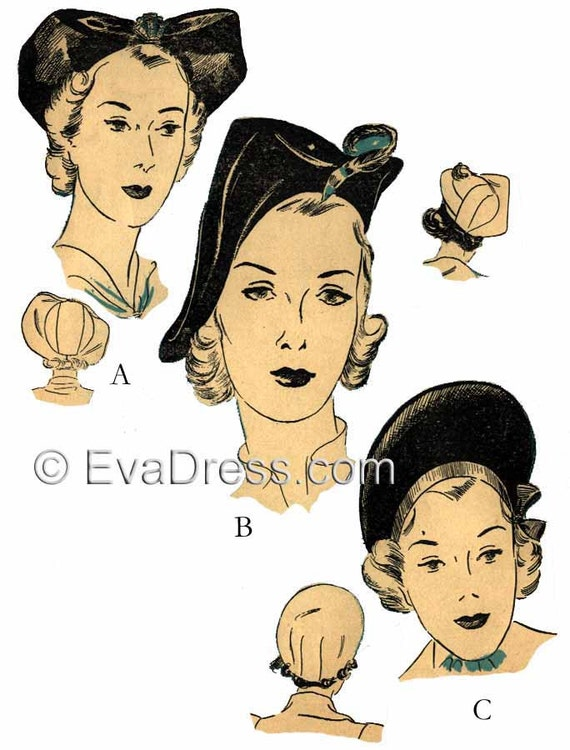 1930s Sewing Patterns- Dresses, Pants, Tops 1938 Set of 3 Hats EvaDress Pattern1938 Set of 3 Hats EvaDress Pattern $10.00 AT vintagedancer.com