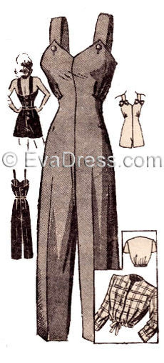 1940s Sewing Patterns – Dresses, Overalls, Lingerie etc 1940s Playsuit and Jacket Pattern by EvaDress $20.00 AT vintagedancer.com