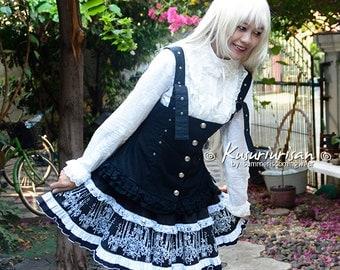 Gothic Lolita black & white dress 3 pieces set