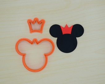 Mouse Head with Crown Fondant Cutter Set