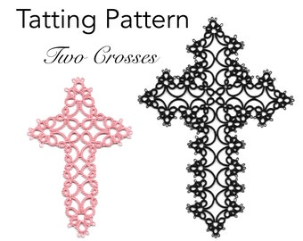 Tatting Pattern - Two Crosses - Instant Digital Download PDF