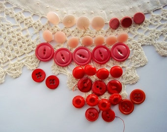 Vintage Buttons, Mix of Pink and Red Buttons, Nine Sets, Sewing, Art & Craft Supply