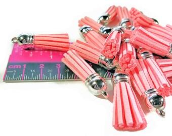 Tassel - 10 Light Pink Tassel Charms - Small Tassels - Silver Cap - Key Chain Tassels - Tassels For Jewelry Making, Wine Charms - TC-S038