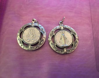 Set of 2 Our Lady of Grace Medals Virgin Mary Double Sided Miraculous Medals Vintage style Heavy solid medal