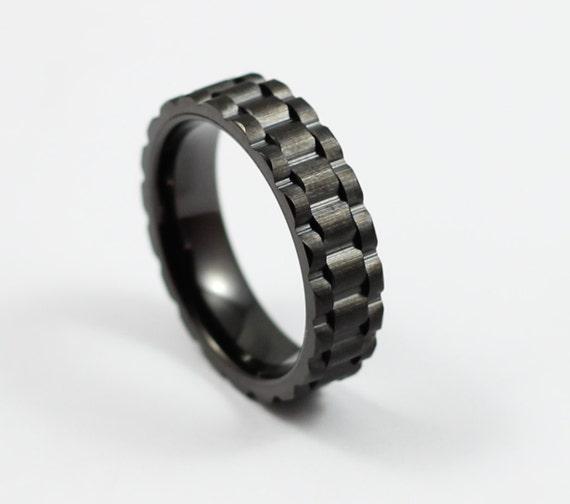 Unique Black Tungsten Gear Ring 6mm Black Wedding Band
