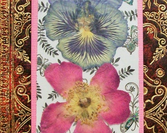 Pressed Flower Bookmarks Wild Flowers Book Marker Art Nature Collage