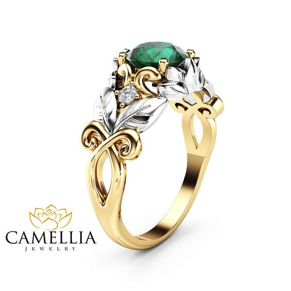 Emerald Leaf Engagement Ring 14K Two Tone Gold Emerald Ring