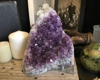 Raw Crystal Cluster / Large Amethyst Cluster / Purple Crystal Cluster / Healing Crystals / Huge Raw Amethyst Cluster Druzy /  Home Decor