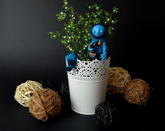 CATERPILLAR in a Pot Art Doll OOAK Home Garden Decor