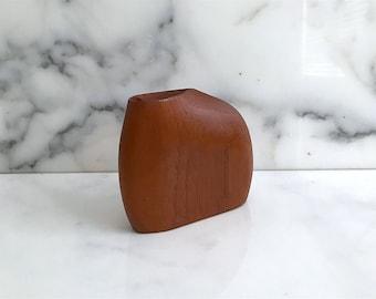 Vintage Mid Century Modern Biomorphic Carved Teak Wood Weed Bud Vase Denmark Danish Scandinavian Design