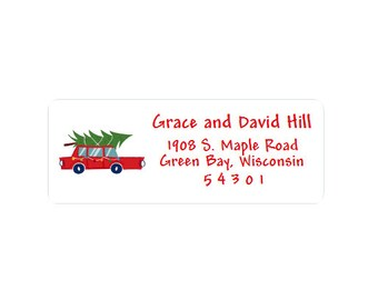 Christmas Return Address Labels - Stickers - Set of 30 - Custom - Personalized - Christmas Tree - Car - Red and Green