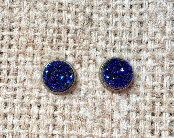 Blue Druzy Earrings, Metallic Druzy Studs, Metallic Blue Studs, Faux Druzy Studs, Druzy Post Earrings, Faux Druzy Jewelry, Blue Druzy Studs