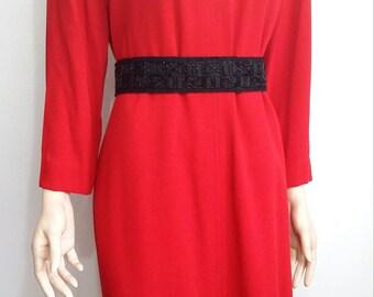 Ellen Tracy dress, L, XL, red shift dress, red dress, vneck dress, formal red dress, Holiday dress, work dress, career dress, designer dress